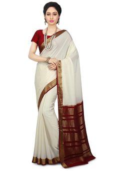 4332552b8 Buy Pure Mysore Silk Saree in Off White online