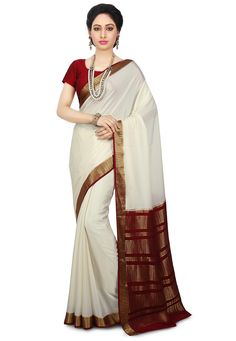 9781bb712 Buy Pure Mysore Silk Saree in Off White online