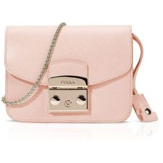 Furla Metropolis Mini Crossbody ($328) ❤ liked on Polyvore featuring bags, handbags, shoulder bags, pink shoulder bag, leather crossbody, genuine leather handbags, leather cross body purse and crossbody purse