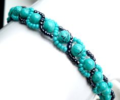 Turquoise Russian Spiral Stitch Bracelet