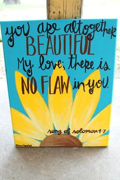 Song of Solomon painting // aqua background, yellow daisy // 11x14 or 16x20 on canvas // MADE TO ORDER