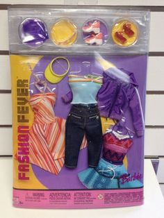 Barbie Fashion Fever 3 Interchangeable Outfits Sundress Capris Jacket Tops NRFB