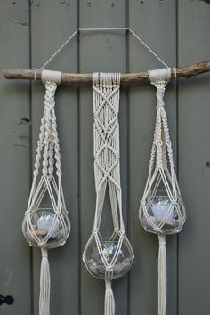 Macrame plant / bowl hanger with natural cotton twine by Bohochoco
