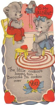 Vintage Valentine Card Dressed Bear Couple Cuckoo Clock Rug Unused Die-Cut | eBay
