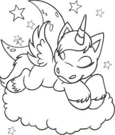 coloring colouring faerie uni sleeping asleep cloud faerieland star stars moon Make your world more colorful with free printable coloring pages from italks. Our free coloring pages for adults and kids. Unicorn Coloring Pages, Cute Coloring Pages, Animal Coloring Pages, Free Printable Coloring Pages, Adult Coloring Pages, Coloring Pages For Kids, Coloring Sheets, Coloring Books, Free Coloring