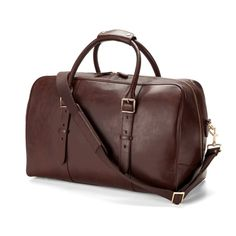 The Satchel Weekender Travel Bag in Smooth Chocolate Brown from Aspinal of London