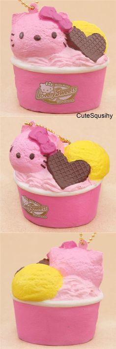 Kawaii Sanrio Hello Kitty strawberry and lemon ice cream with a chocolate wafer heart squishy! Best Squishies, Homemade Squishies, Silly Squishies, Diy Crafts Slime, Slime And Squishy, Kawaii Plush, Hello Kitty Wallpaper, Kawaii Shop, Cute Food