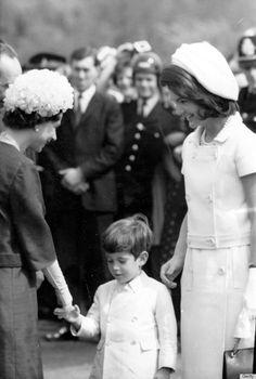 Queen Elizabeth II with John Kennedy Jr and Jackie Kennedy