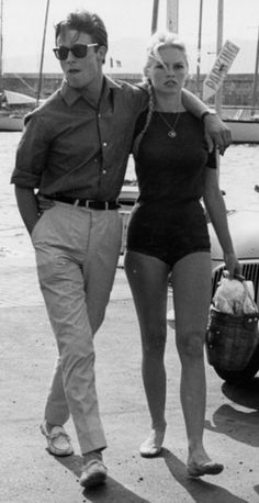 """alain-de-loin: """" Let met get this straight for everyone : this has NEVER been Alain Delon. This is Jacques Charrier. This literally is Jacques Charrier and Brigitte Bardot. This is not Alain Delon. Bridget Bardot, Brigitte Bardot, Alain Delon, Saint Tropez, Jacques Charrier, Moda Rock, Lauren Hutton, Catherine Deneuve, French Actress"""