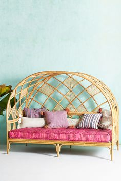 Peacock Cabana Indoor/Outdoor Daybed by: Anthropologie A statement-making piece crafted with natural rattan, this stunning daybed grounds your outdoor oasis with refined style Plywood Furniture, Hanging Furniture, Unique Furniture, Rustic Furniture, Furniture Decor, Bedroom Furniture, Furniture Design, Bedroom Decor, Furniture Removal