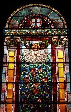One of many Tiffany stained glass windows in the main chapel of the Oakwood Cemetery crematory is shown in this 2001 photo. (Times Union arc...