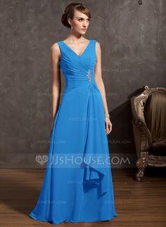 A-Line/Princess V-neck Floor-Length Beading Cascading Ruffles Zipper Up Regular Straps Sleeveless No Regency Spring General Plus Chiffon Mother of the Bride Dress
