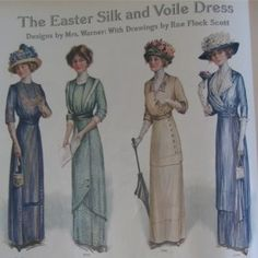 Smart Easter dresses for 1912. The high collar still remains on many of these, but the bodice often soft and draped, the waistline slightly Empire, and the diaphanous underskirt often paired with a contrasting under layer.