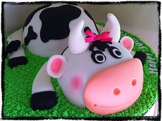 Cow cake! - Two chocolate mud cakes covered in ganache and decorated in fondant.