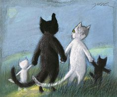 cat family - by Jozef Wilkon (polish artist)