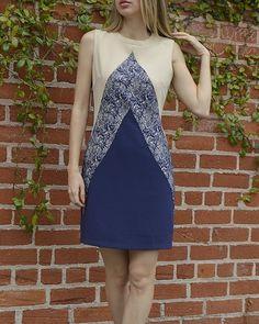 Multi-paneled Sleeveless Mini Dress with Crew Neck-id.31058