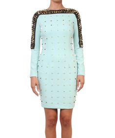 56522ac572cd Gaetano Navarra Bimaterial dress with studs