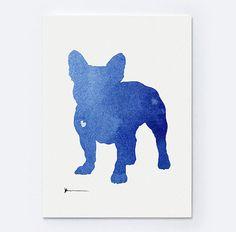French Bulldog Clip Art Print Blue Home Decor by Silhouetown