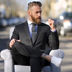 Mens fashion and beard and tattoo