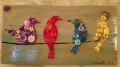 Birds on a Wire by ButtonArtByCarol on Etsy