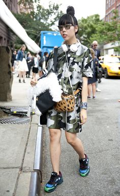 Susie Lao – MW furry backpack Fashion Week Street Style 2013: Go Bold With Big Prints For Day 4 (PHOTOS)