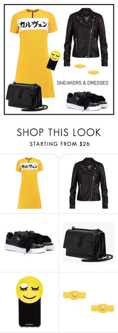 """""""Yellow and black"""" by enmanes ❤ liked on Polyvore featuring Carven, SET, Puma, Yves Saint Laurent, Iphoria and Marc by Marc Jacobs"""