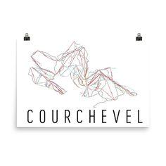 Courchevel Ski Map Art, Courchevel France, Courchevel Trail Map, Courchevel Piste Map Print, Courchevel Poster, Courchevel Art, Gift