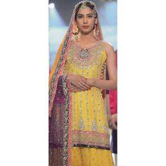 Yellow/Dark Purple Embroidered Crinkle Chiffon Mehndi Dress