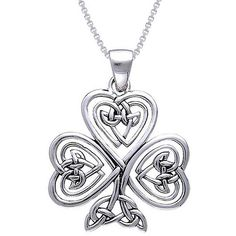 Carolina Glamour Collection CGC Sterling Silver Shamrock Of Faith... ($37) ❤ liked on Polyvore featuring jewelry, necklaces, white, long sterling silver necklace, leaf necklace, pendants & necklaces, clover leaf necklace and leaf pendant necklace