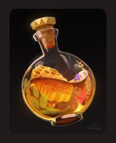 Prop Design, Game Design, Honey Bottles, Bottle Drawing, Magic Bottles, Game Concept Art, Game Icon, Fantasy Weapons, Dungeons And Dragons