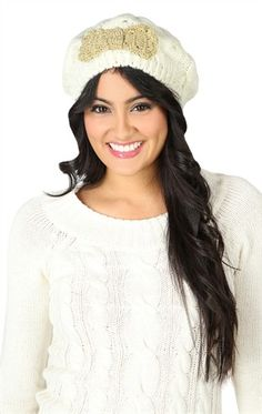 Deb Shops Knit #Beret with Metallic #Bow $11.12