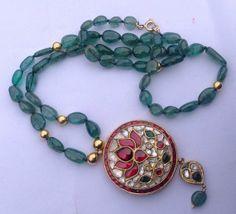 Vintage Diamond 22 K gold Emerald beads necklace by TRIBALEXPORT, $1750.00