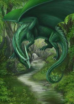 Quelle des Lebens by ArkaEdri on DeviantArt Sea Dragon, Green Dragon, White Dragon, Mystical Forest, Fantasy Forest, Fantasy Art, Mythical Creatures Art, Magical Creatures, Fantasy Creatures