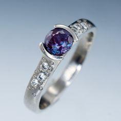 Alexandrite Half Bezel Diamond Star Dust Palladium Engagement Ring | Nodeform