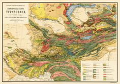 Geological map of Turkestan, 1925. Love the use of colour here. I swear that some cartographers, at least, are closet artists.