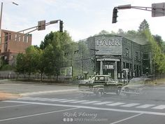 The Park Theater was named for its location at the bottom of Park Street. It opened in 1913 as The Palace Theater and stood in this location until 1973, when it was demolished for the beautiful parking lot that exists today.