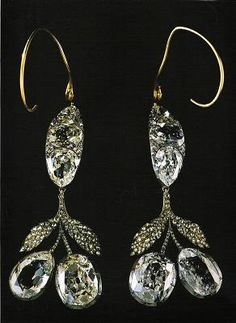 Earrings that Empress Alexandra Feodorovna wore at her wedding.  They are so heavy they are held up by wires that go around the tops of the ears.
