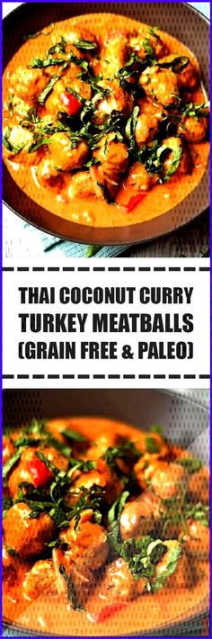 Coconut Curry Turkey Meatballs Grain Free 038 Paleo These Curry spiced ground turkey meatballs are Thai Coconut, Coconut Curry, Ground Turkey Meatballs, Curry Spices, Paella, Grain Free, Grains, Ethnic Recipes, Food