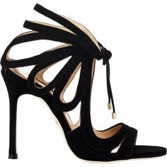 Chelsea Paris Ada Strappy Sandals (€540) ❤ liked on Polyvore featuring shoes, sandals, heels, sapatos, обувь, black, ankle wrap sandals, black ankle strap sandals, black open toe sandals and ankle tie sandals