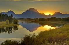 Sunset with Reflection from Oxbow Bend with Jackson Lake, WY - Flickr - Photo Sharing!