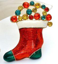 Vintage Christmas Rhinestone Stocking Brooch Enamel Green Red Holiday Pin