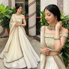 looking so beautiful in this outfit by Jewelry - Indian Lehenga, Indian Gowns, Indian Attire, Indian Ethnic Wear, Pakistani Dresses, Lehenga White, Indian Wedding Outfits, Indian Outfits, Indian Engagement Outfit