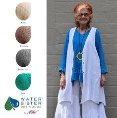 WATERSISTER Cotton Gauze LUMI Vest Long A-Line Top 1(M/L) 2(XL/1X) DISC COLORS | eBay