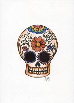 Reliquia antique effect original sugar skull pen and ink illustration | amyelyseneer - Illustration on ArtFire