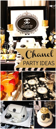 Such an elegant Chanel party! You have the see the cake! See more party ideas at CatchMyParty.com!