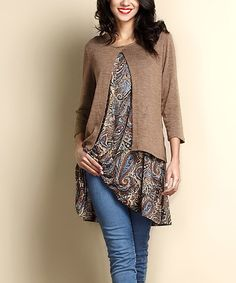 Look what I found on #zulily! Brown Paisley Layered Tunic #zulilyfinds