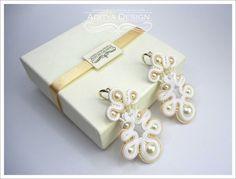 SANSITA unique, original, copyright, elegant, delicate cream and white handmade soutache soutage wedding (bridal) earrings