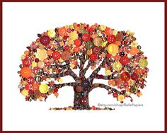 Button Art Oak Tree of Life Fall Tree Button Art by BellePapiers