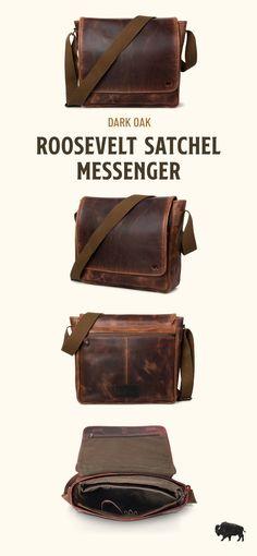 For the times you don't need a big bag, grab the Roosevelt Buffalo Leather Satchel Messenger. Mens Leather Satchel, Leather Bags, Leather Handbags, Casual Professional, Vintage Messenger Bag, Velvet Glove, Big Bags, Men's Bags, Men With Street Style