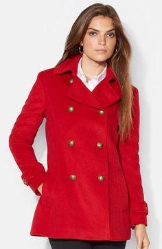 Lauren Ralph Lauren Double Breasted Wool Blend Peacoat (Regular & Petite) available at #Nordstrom hair color